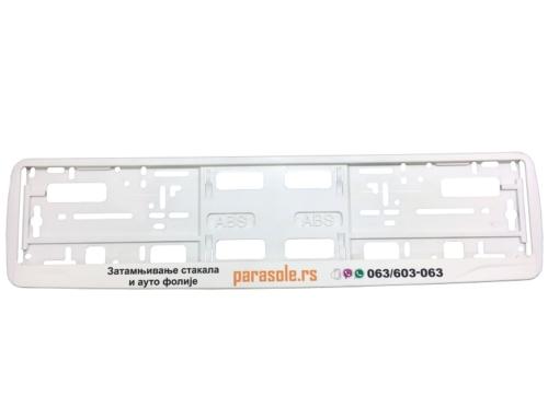 MODEL I – Okvir registarske tablice (perforirana lajsna) – Sito štampa – Bela – 176GP
